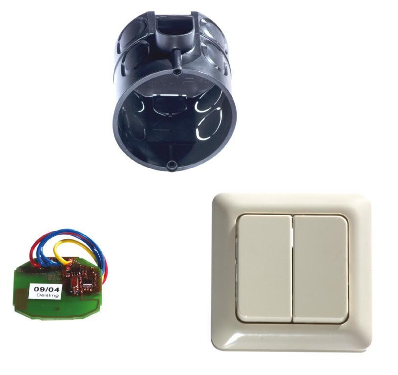 Funkinnentaster mit Unterputzdose und Taster (2-Befehl)