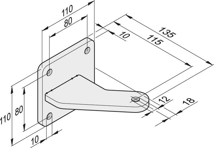Abmessungen Torpfostenbeschlag 85/115 L + R, Edelstahl
