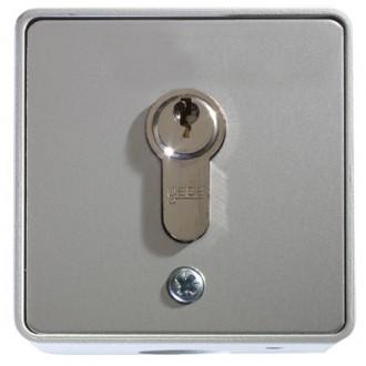 Schlüsseltaster im Metallgehäuse, 1-Kontakt mit Zylinder (Aufputz), 3 Schlüssel